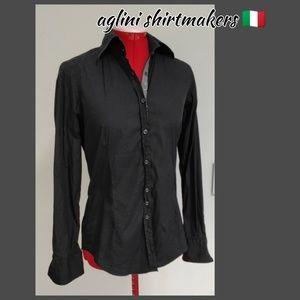 Aglini shirtmakers | stretch black button down